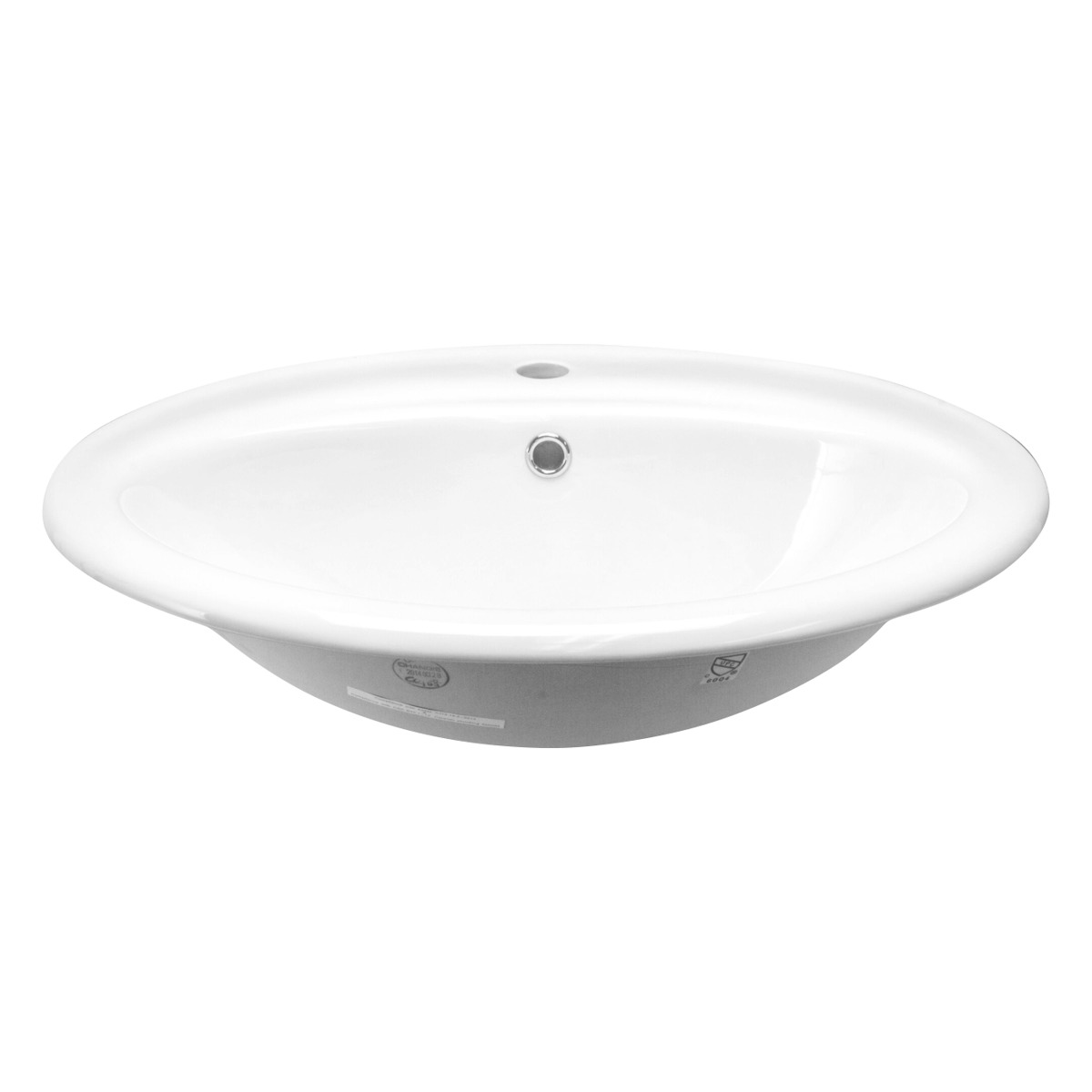 Chinashell Daisy Porcelain Oval Drop In Vanity Sink In White